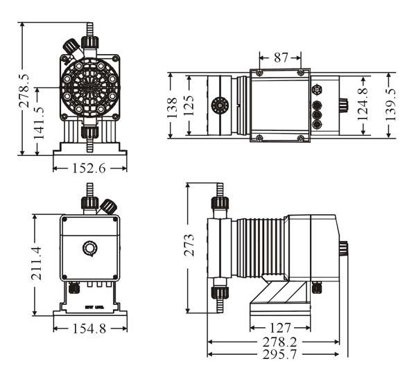 比例式多功能计量泵,微电脑控制、LCD显示屏、薄膜按键操作,可调整冲程频率及冲程长度,具药桶液位侦测、流量传感报警、待机及报警输出功能,可接收外部信号(脉冲/电流/电压)及多种控制模式(定量/乘除/浓度/批次/电流/电压)选择功能。